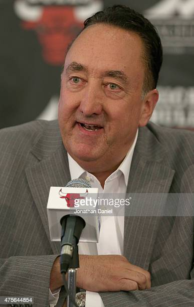 General manager Gar Forman of the Chicago Bulls speaks at a press conference at the Advocate Center on June 2 2015 in Chicago Illinois NOTE TO USER...