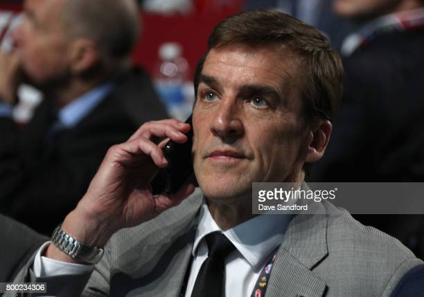 General manager George McPhee of the Las Vegas Golden Knights looks on during Round One of the 2017 NHL Draft at United Center on June 23 2017 in...