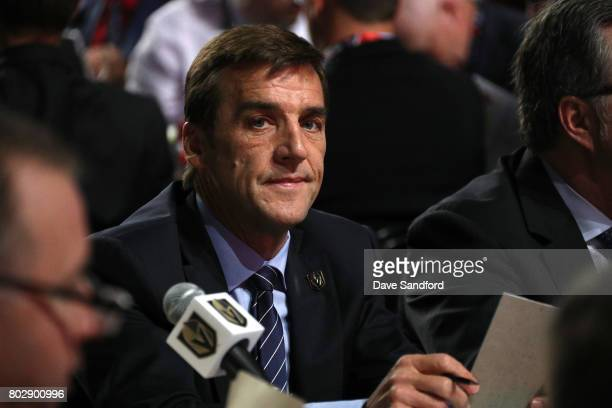 General manager George McPhee of the Vegas Golden Knights looks on during the 2017 NHL Draft at United Center on June 24 2017 in Chicago Illinois