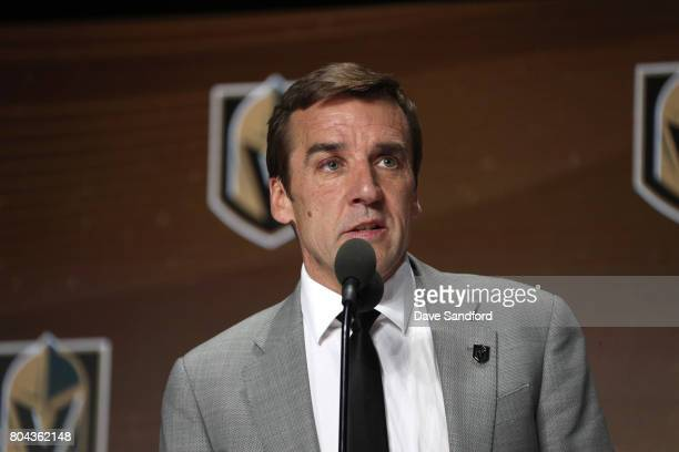 General manager George McPhee of the Vegas Golden Knights speaks onstage during Round One of the 2017 NHL Draft at United Center on June 23 2017 in...