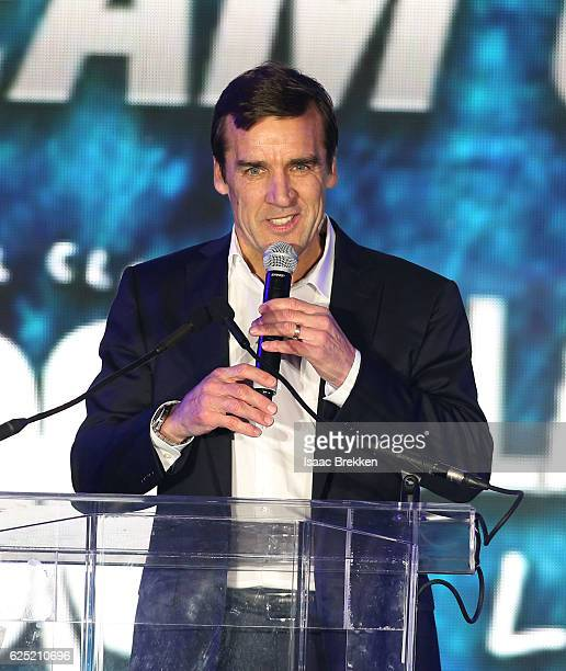 General manager George McPhee speaks at the unveiling of the new logo and name for the Vegas Golden Knights in Toshiba Plaza at TMobile Arena...