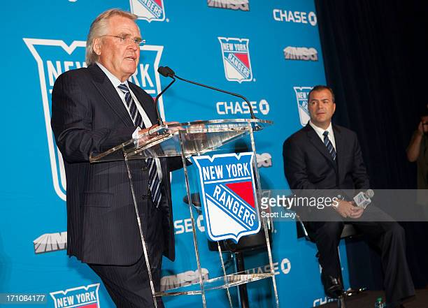 General Manager Glen Sather of the New York Rangers introduces Alain Vigneault as the new Rangers coach at Radio City Music Hall on June 21, 2013 in...