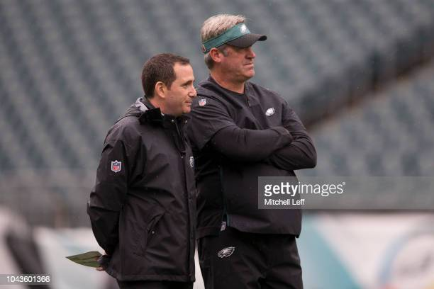 General manager Howie Roseman and head coach Doug Pederson of the Philadelphia Eagles look on prior to the game against the Indianapolis Colts at...