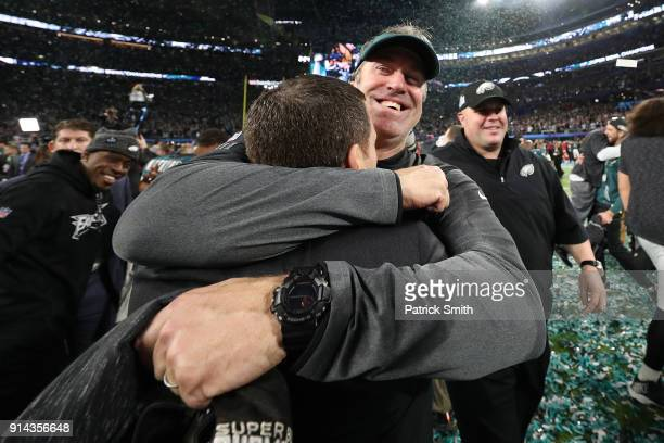 General Manager Howie Roseman celebrates with head coach Doug Pederson of the Philadelphia Eagles after defeating the New England Patriots 4133 in...