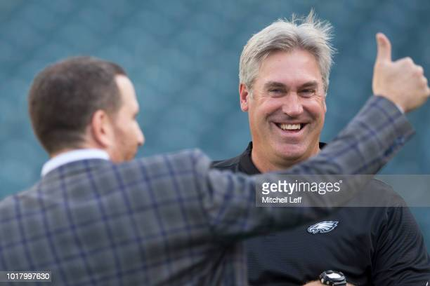 General manager Howie Roseman of the Philadelphia Eagles and head coach Doug Pederson look on prior to the preseason game against the Pittsburgh...