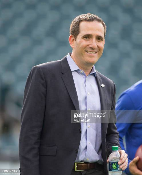 General Manager Howie Roseman of the Philadelphia Eagles looks on prior to the preseason game against the Buffalo Bills at Lincoln Financial Field on...