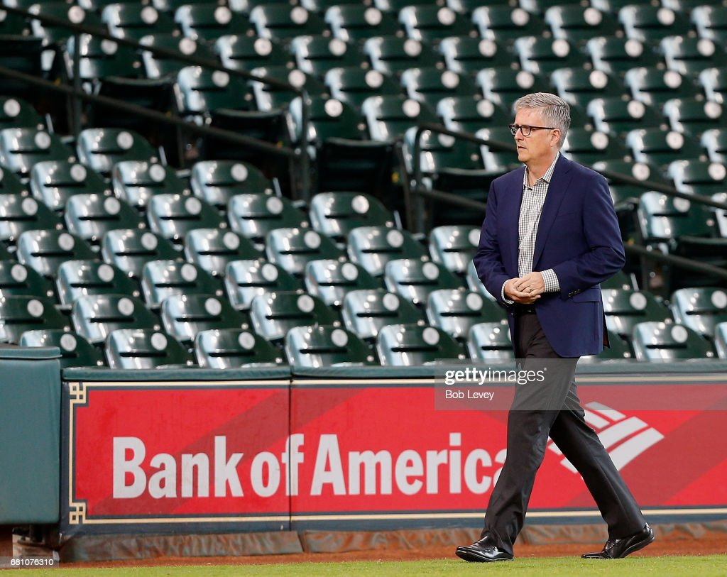 General manager Jeff Luhnow of the Houston Astros at Minute Maid Park on May 9, 2017 in Houston, Texas.