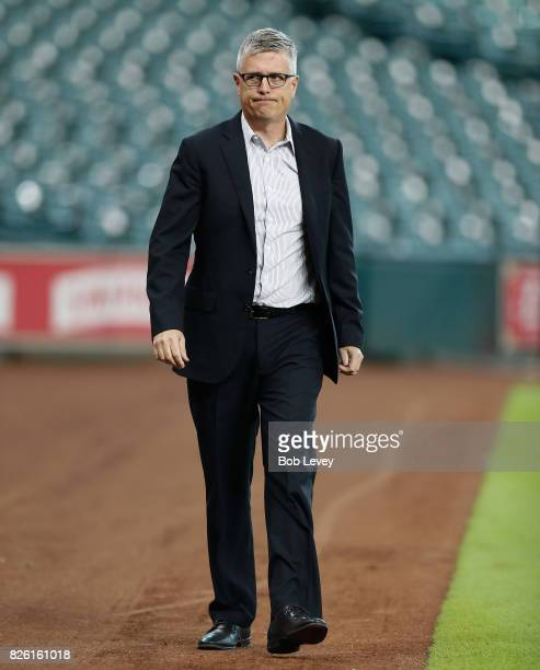 General manager Jeff Luhnow of the Houston Astros at Minute Maid Park on August 3 2017 in Houston Texas