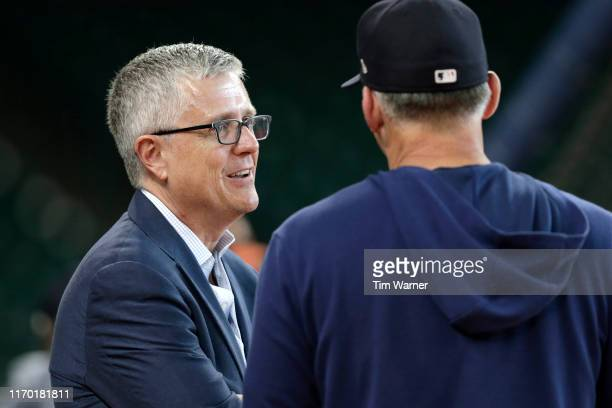 General manager Jeff Luhnow of the Houston Astros attends batting practice before the game against the Detroit Tigers at Minute Maid Park on August...