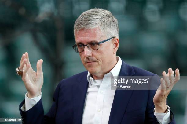 General manager Jeff Luhnow of the Houston Astros reacts before the game against the Milwaukee Brewers at Minute Maid Park on June 11 2019 in Houston...