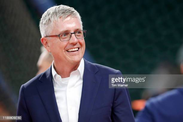General Manager Jeff Luhnow of the Houston Astros watches during batting practice before the game against the Milwaukee Brewers at Minute Maid Park...