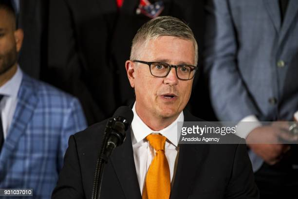 General Manager Jeff Luhnow speaks during a ceremony honoring the Major League Baseball 2017 World Series Champion Houston Astros at the White House...