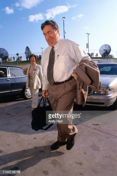 General Manager Jerry Krause of the Chicago Bulls arrives before Game Four of the 1998 NBA Finals against the Utah Jazz on June 10 1998 at the United...