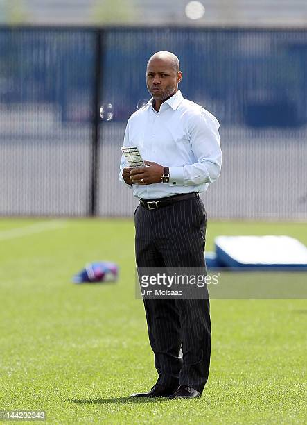 General manager Jerry Reese of the New York Giants looks on Giants minicamp at Timex Performance Center on May 11 2012 in East Rutherford New Jersey