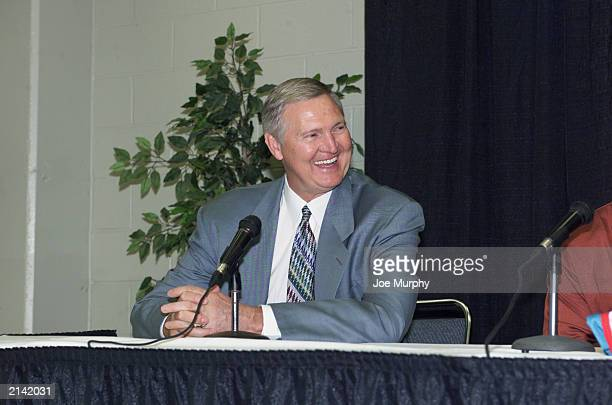 General manager Jerry West of the Memphis Grizzlies laughs during a press conference with the Grizzlies draft picks on June 27 2003 in Memphis...
