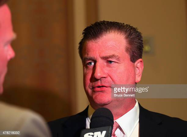 General manager Jim Benning of the Vancouver Canucks speaks with the media following the NHL general managers meetings at the Bellagio Las Vegas on...