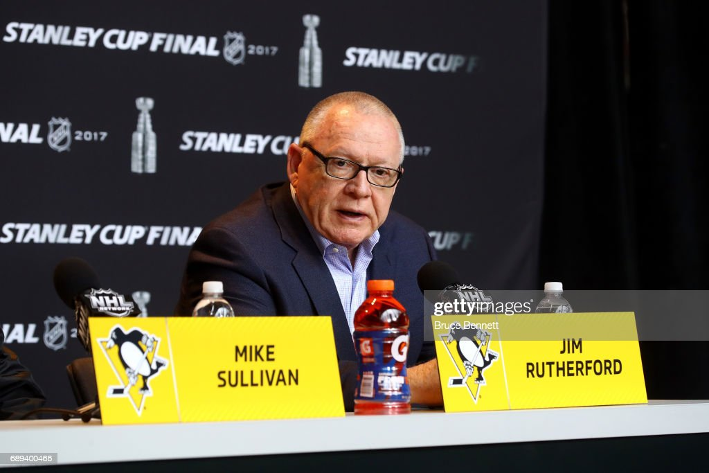 General Manager Jim Rutherford of the Pittsburgh Penguins answers questions in a press conference during Media Day for the 2017 NHL Stanley Cup Final at PPG PAINTS Arena on May 28, 2017 in Pittsburgh, Pennsylvania.
