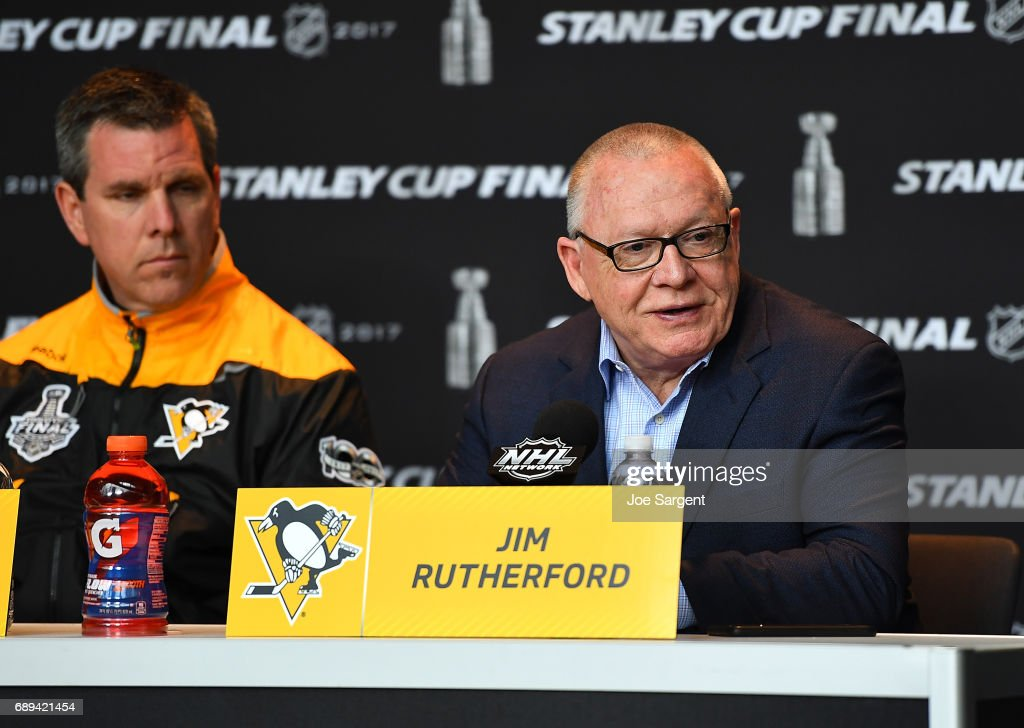 General Manager Jim Rutherford of the Pittsburgh Penguins speaks with the media during Media Day for the 2017 NHL Stanley Cup Final at PPG Paints Arena on May 28, 2017 in Pittsburgh, Pennsylvania.
