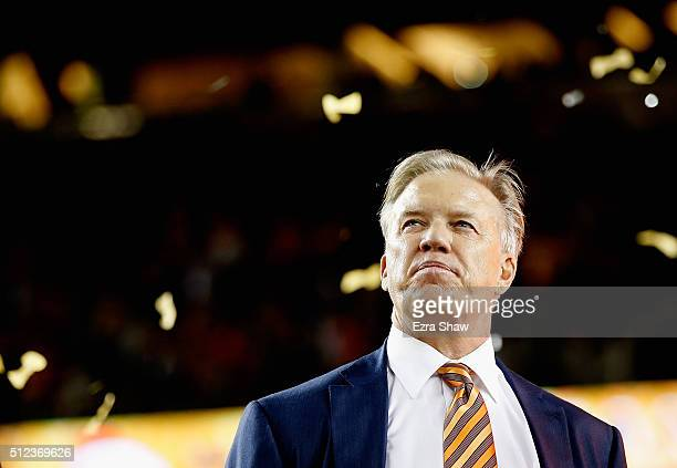General Manager John Elway of the Denver Broncos looks on after their win over the Carolina Panthers during Super Bowl 50 at Levi's Stadium on...