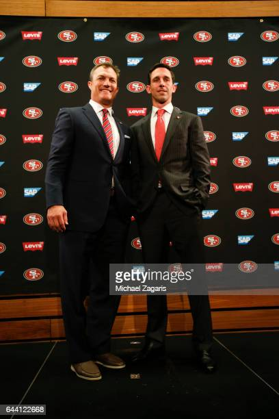 General Manager John Lynch and Head Coach Kyle Shanahan of the San Francisco 49ers stand together during a press conference at Levi Stadium on...