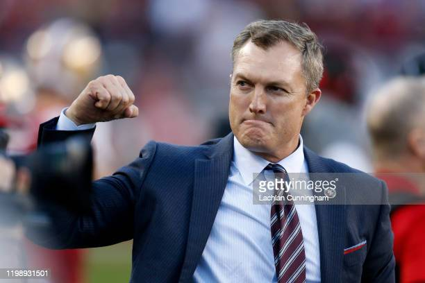 General manager John Lynch celebrates in the final moments of the NFC Divisional Round Playoff game against the Minnesota Vikings at Levi's Stadium...