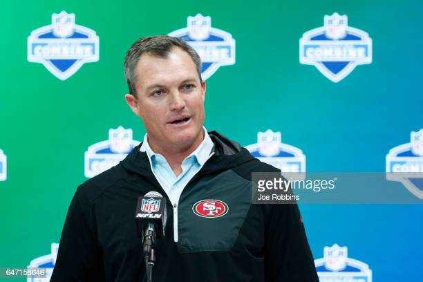 General manager John Lynch of the San Francisco 49ers answers questions from the media on Day 2 of the NFL Combine at the Indiana Convention Center...