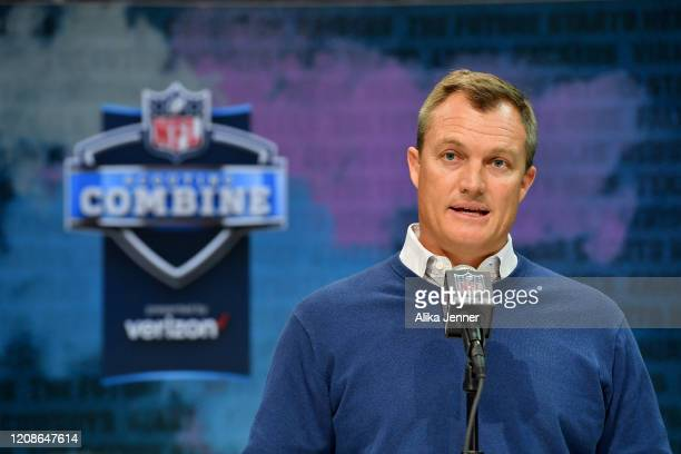 General Manager John Lynch of the San Francisco 49ers interviews during the first day of the NFL Scouting Combine at Lucas Oil Stadium on February 25...