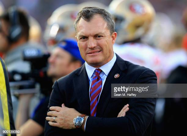 General Manager John Lynch of the San Francisco 49ers looks on from the sidelines during the second half of a game against the Los Angeles Rams at...