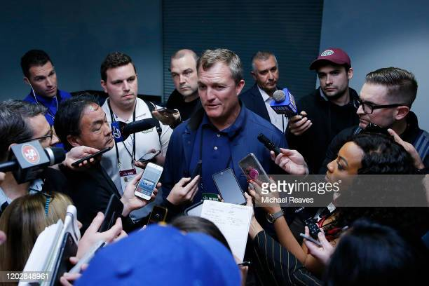 General manager John Lynch of the San Francisco 49ers speaks to the media during the San Francisco 49ers media availability prior to Super Bowl LIV...