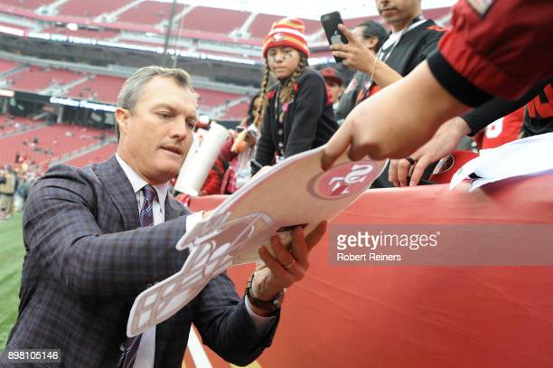 General Manager John Lynch signs autographs for fans prior to their NFL game against the Jacksonville Jaguars at Levi's Stadium on December 24 2017...