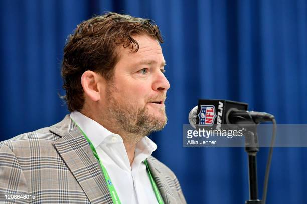 General Manager John Schneider of the Seattle Seahawks interviews during the first day of the NFL Scouting Combine at Lucas Oil Stadium on February...