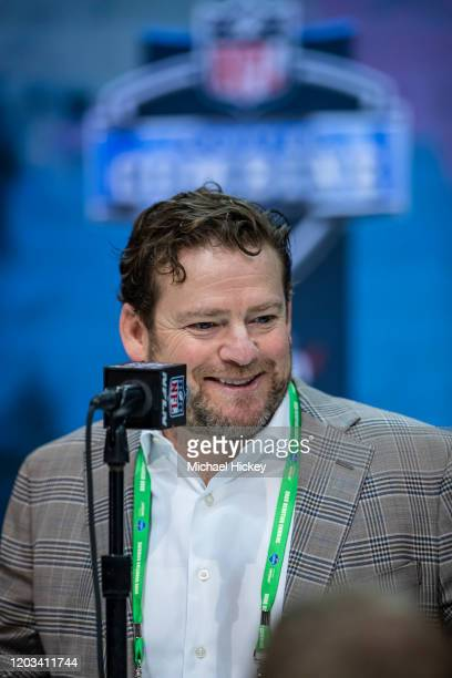 General manager John Schneider of the Seattle Seahawks speaks to the media at the Indiana Convention Center on February 25 2020 in Indianapolis...