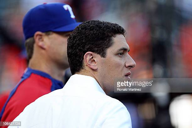General Manager Jon Daniels of the Texas Rangers looks on during batting practice against the San Francisco Giants in Game Five of the 2010 MLB World...