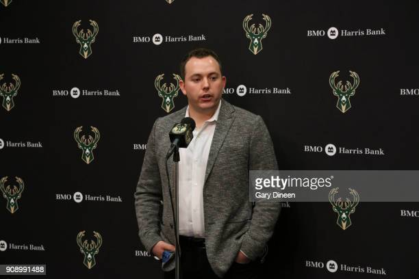 General Manager Jon Horst speaks to media about the letting go of head coach of the Milwaukee Bucks Jason Kidd before game against the Phoenix Suns...