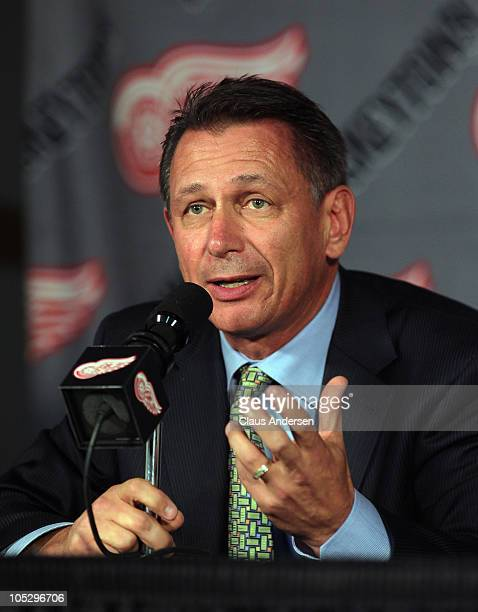 General Manager Ken Holland of the Detroit Red Wings gets set to talk about the retirement of Kirk Maltby prior to a game between the Detroit Red...