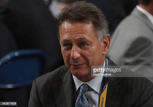 General Manager Ken Holland of the Detroit Red Wings looks on during the 2016 NHL Draft at First Niagara Center on June 25 2016 in Buffalo New York