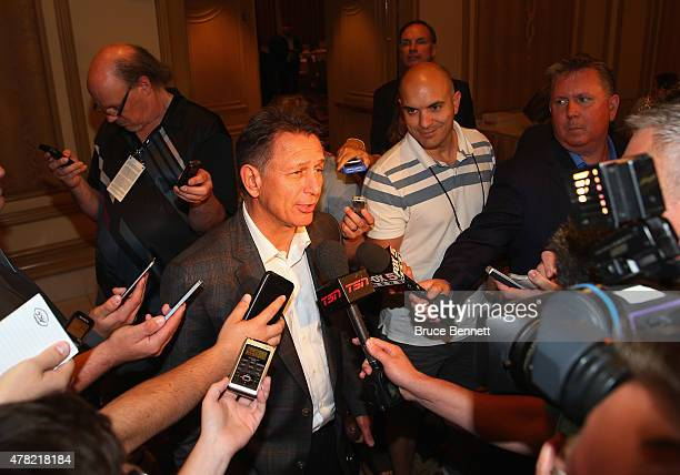 General manager Ken Holland of the Detroit Red Wings speaks with the media following the NHL general managers meetings at the Bellagio Las Vegas on...