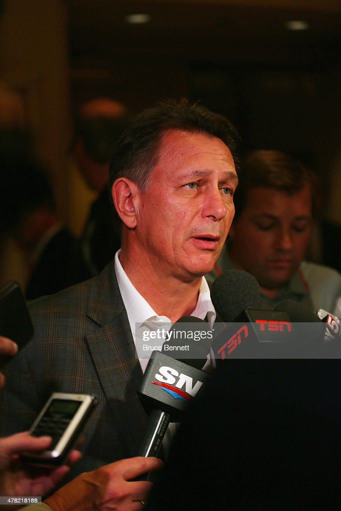 General manager Ken Holland of the Detroit Red Wings speaks with the media following the NHL general managers meetings at the Bellagio Las Vegas on June 23, 2015 in Las Vegas, Nevada.