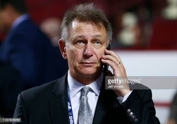 General manager Ken Holland of the Edmonton Oilers is seen talking of the phone during Rounds 27 of the 2019 NHL Draft at Rogers Arena on June 22...