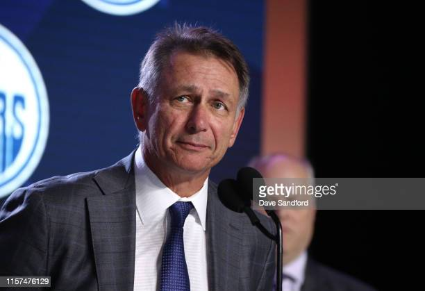 General Manager Ken Holland of the Edmonton Oilers speaks onstage during the first round of the 2019 NHL Draft at Rogers Arena on June 21 2019 in...