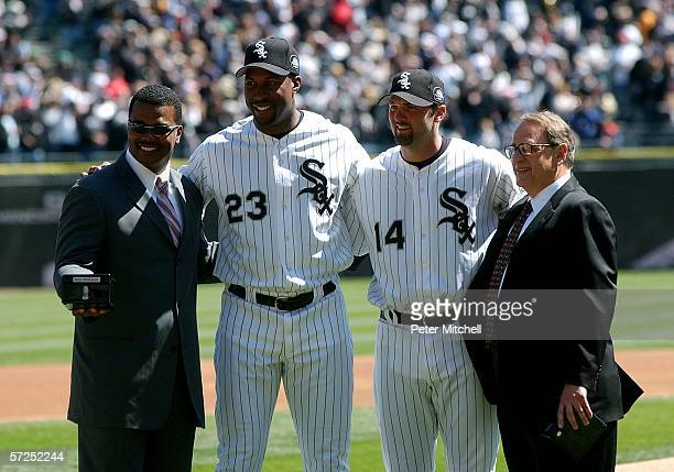 General Manager Ken Williams Jermaine Dye Paul Konerko and Chariman Jerry Reinsdorf of the Chicago White Sox pose during the World Series...