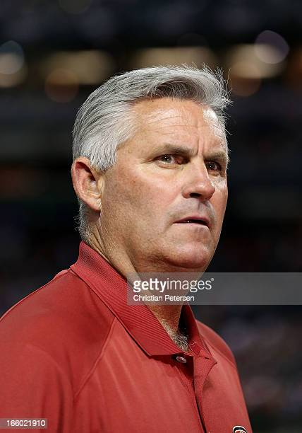 General manager Kevin Towers of the Arizona Diamondbacks stands on the field before the MLB Opening Day game against the St Louis Cardinals at Chase...
