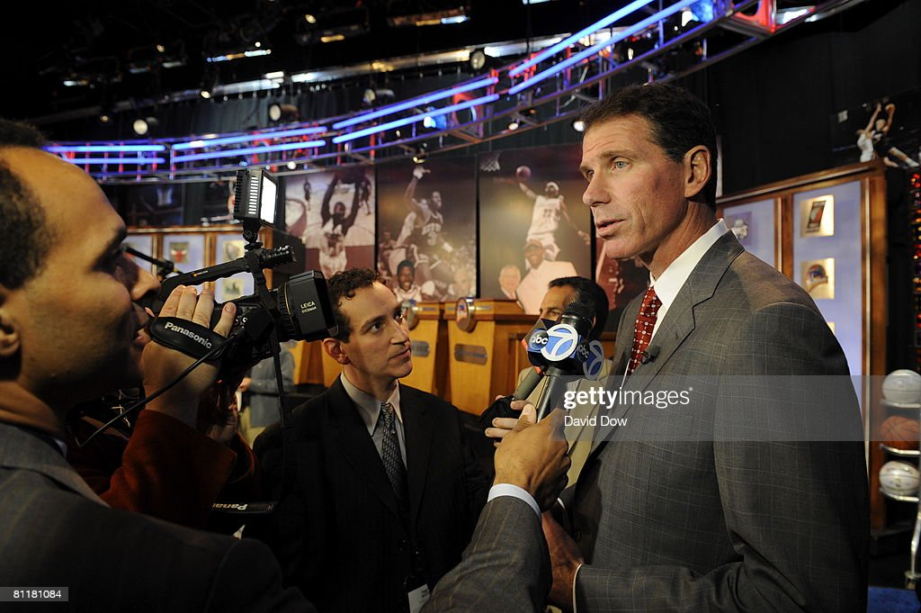 General Manager Kiki Vaneweghe of the New Jersey Nets is intervied by the media after the 2008 NBA Draft Lottery at the NBATV Studios on May 20, 2008 in Secaucus, New Jersey.