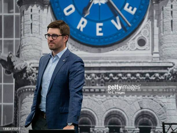 General Manager Kyle Dubas of the Toronto Maple Leafs attends rounds 2-7 of the 2021 NHL Entry Draft at OVO Athletic Centre on July 24, 2021 in...