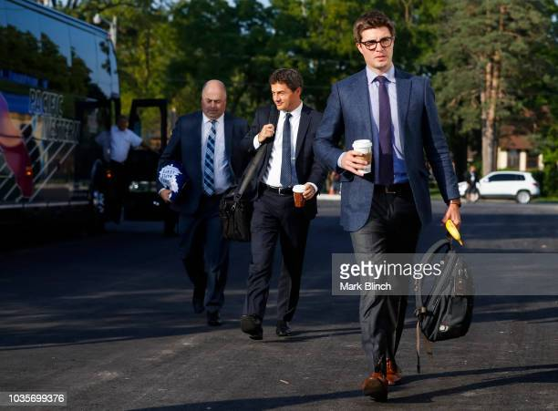 General manager Kyle Dubas of the Toronto Maple Leafs makes his way into the arena from the team bus prior to their preseason game against the Ottawa...