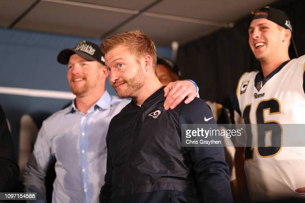 General Manager, Les Snead, head coach Sean McVay and Jared Goff of the Los Angeles Rams reacts after defeating the New Orleans Saints in the NFC...