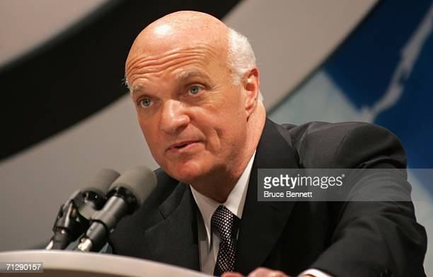 General manager Lou Lamoriello of the New Jersey Devils speaks at the podium during the 2006 NHL Draft held at General Motors Place on June 24 2006...