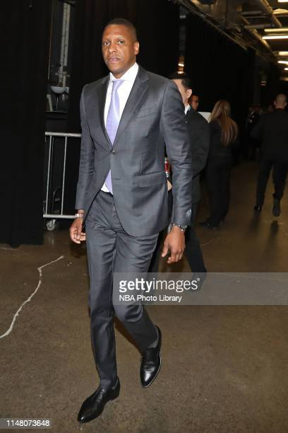 General manager, Masai Ujiri of the Toronto Raptors arrives at the arena before Game Two of the 2019 NBA Finals on June 2, 2019 at Scotiabank Arena...