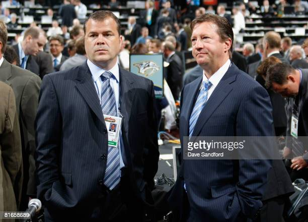 General Manager Mike Gillis and Assistant General Manager Steve Tambellini of the Vancouver Canucks photographed during the 2008 NHL Entry Draft at...