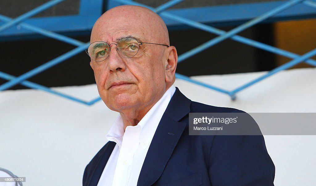 General Manager of AC Milan Adriano Galliani looks on before the preseason friendly match between AC Milan and Legnano on July 14, 2015 in Solbiate Arno, Italy.